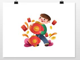 元旦节抱着大红灯笼的男孩元素