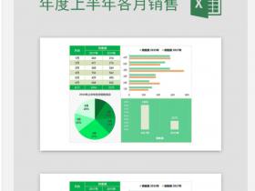 年度上半年各月销售情况分析统计excel图表模板